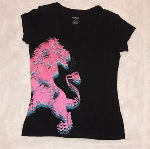 Express Black V neck T-shirt with Lion Sz M
